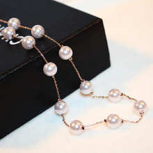 Simulated Pearl Necklaces & Pendants Top Quality Anti-Allergy Rose Gold Color Statement Necklace Chain Jewelry