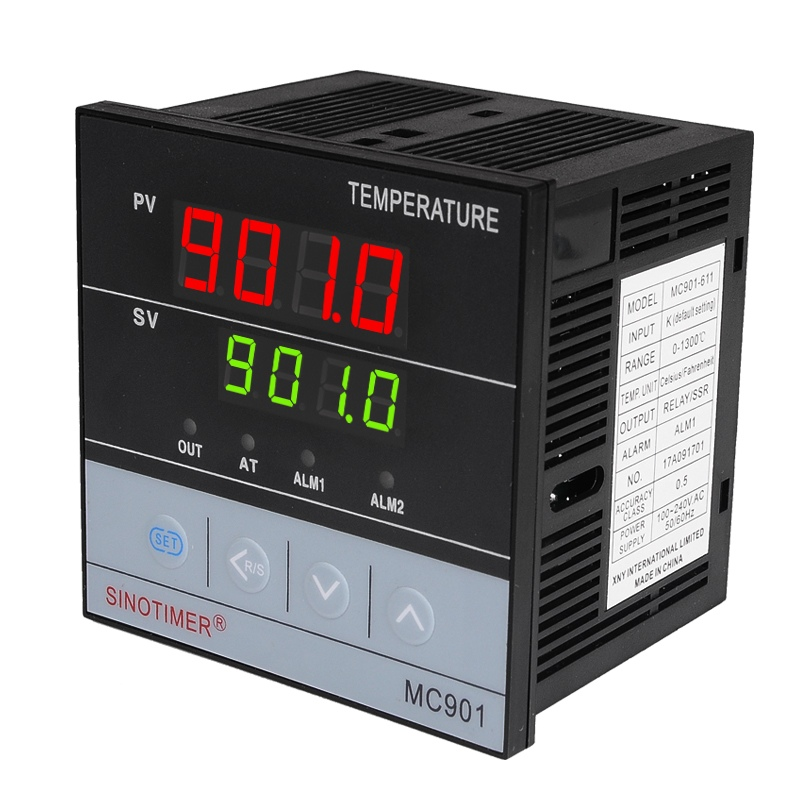 Universal Input PT100 K Thermocouple Digital PID SSR Relay Temperature Controller Output for Heat Cool with Alarm Fahrenheit sestos dual digital pid temperature controller 2 omron relay output black d1s vr 220 pt100 80a ssr