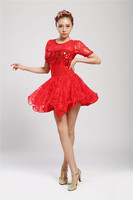 Women Children Short Sleeve Latin Dance Dress For Lace Style Girls Lady Cha Cha Rumba Samba