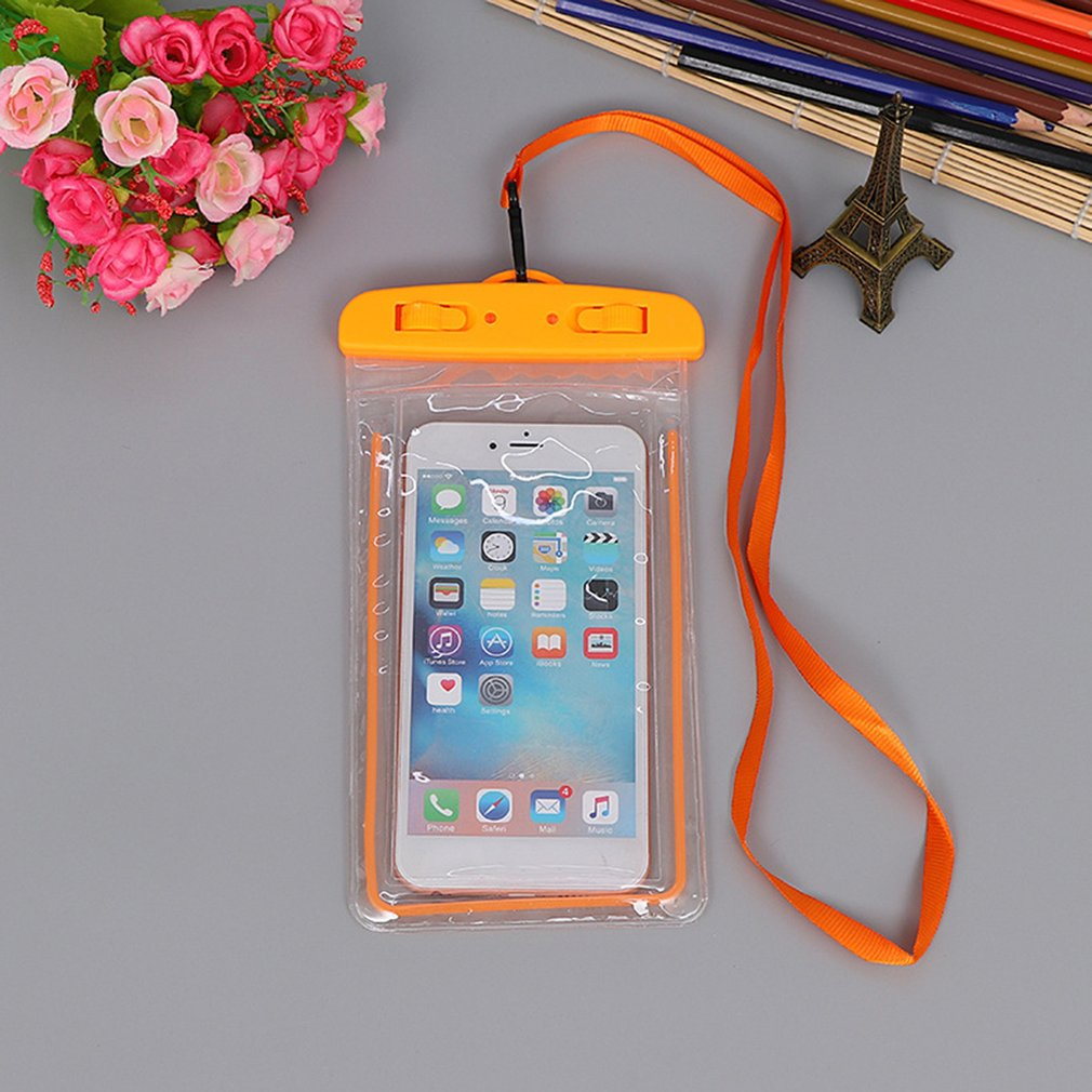 Outdoor Waterproof Phone Bag Luminous Universal Mobile Phone Case For iphone Swimming Surfing With Neck Strap Hot Dropshipping