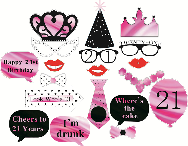 20pcs 21st Birthday Photo Booth Props Girl Moustache Hats Crown Glasses On A Stick Happy Decoration Hen Party Mask 75d In Photobooth From