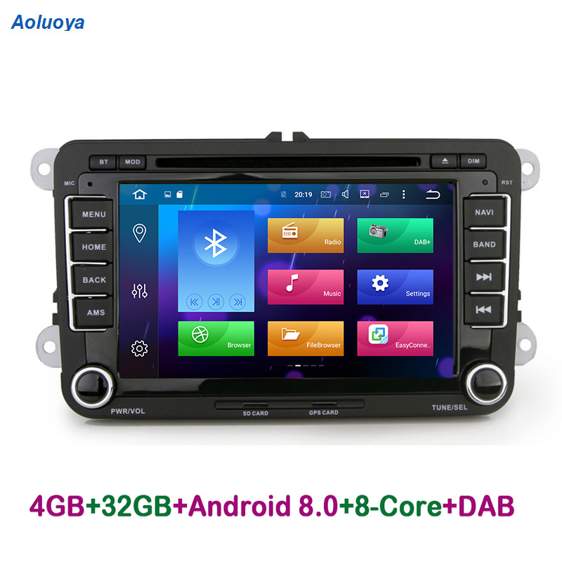 Aoluoya Оперативная память 4 Гб 8 Core Android 8,0 Автомагнитола DVD gps PlayerFor Фольксваген Гольф 5 6 поло Passat Tiguan Jetta EOS Sharan Touran