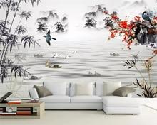 Beibehang Wallpaper mural Chinese ink landscape flower and bird TV background walls wallpaper home decoration 3d