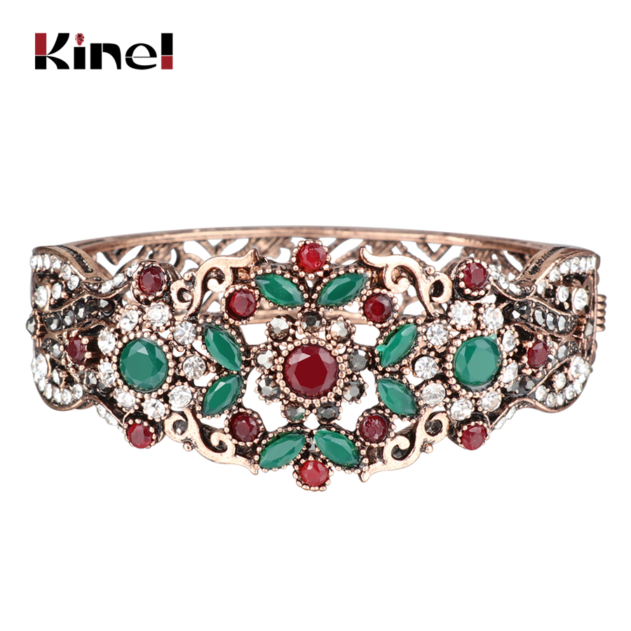 Kinel Turkish Vintage Bangle Gold Color Rhinestone Hollow Flower Bracelet Retro Ladies Dress Wedding Party Accessories Gift