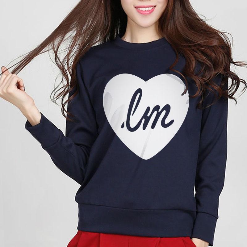 Ladys Sweatshirt 2017 Spring Winter Female Sweatshirts LOVE Heart Pattern Hoody Tracksuit Women Hoodies Moleton Pullovers Kpop