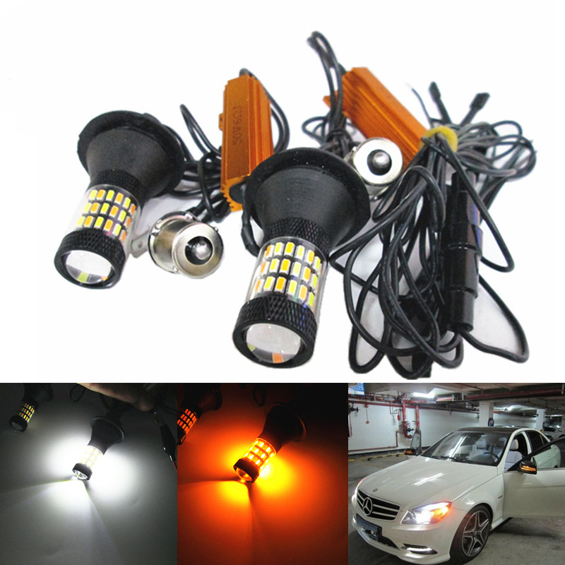 2pcs New S25 1156 BA15S BAU15S Canbus Dual Color 54SMD 4014 Led White/ Amber Bulbs Front Turning Lights Signal DRL Error Free error free canbus t20 7440 1156 3156 dual color white amber 42smd 2835 7440 led bulbs for car reverse turning signal lights drl