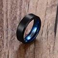 Мужское свадебное черное вольфрамовое кольцо 6 мм матовая отделка скошенная полированная окантовка синяя удобная посадка мужские ювелирны...