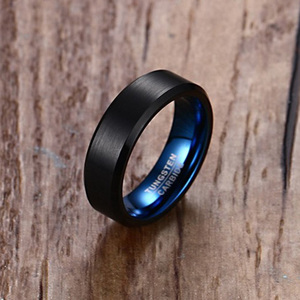 Men's Wedding Black Tungsten Ring 6mm Matte Finish Beveled Polished Edged Blue Comfort Fit Men Jewelry with Gift Box Size 7-12