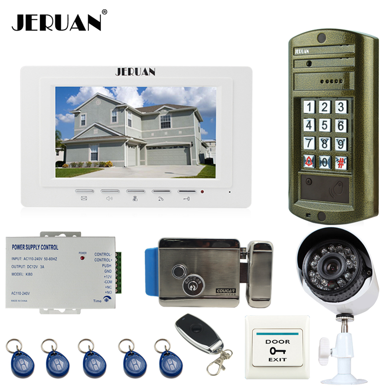 JERUAN 7`` Video Door Phone Intercom System kit 1 White Monitor+ Metal panel waterproof password keypad HD Mini Camera E-Lock
