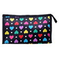 Cute Colorful Love Heart Polyester Comestic Makeup Storage Travel Bath Organizer Bag,Black