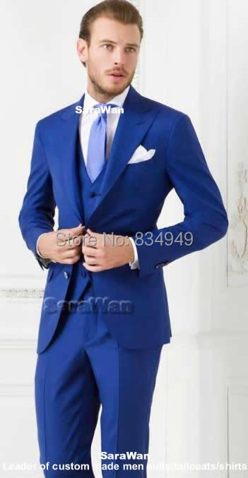 Светло синий Нарядные Костюмы для свадьбы для Для мужчин заказ, 2 кнопки Пик нагрудные Свадебные смокинги для Для мужчин, синий смокинг жени