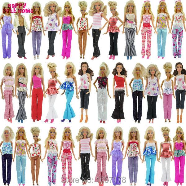 5x Slumpmässig Handgjord Mode Lady Daglig Slitage Blus & Byxor Outfit Casual Kläder Till Barbie Doll Tillbehör Presenter Babyleksaker