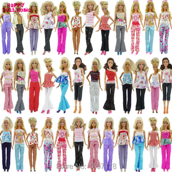 5x Random Handmade Fashion Lady Daily Wear Blouse & Trousers Outfit Casual Clothes For Barbie Doll Gifts Baby Toys handmade casual wear outfit jacket coat gray vest pants khaki trousers clothes for american girl doll 18 accessories toys gift