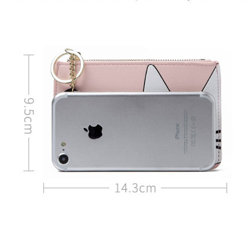 JULICXYJ Brand Cute Cat Women Coin Purse 2018 New Fresh Delicate Girl Teenager Mini Slim Change Wallet Card Bags With Keychain