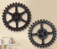 1PC Retro Creative Home Furnishing Wall Hangings Dec Clothing Store Bar Background Wall Decoration Wood Gear EJL 035