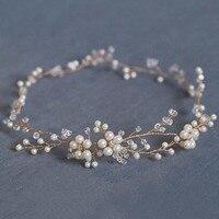 Handmade Pearls Flower Vine Tiara Headbands Wedding Bridal Hair Jewelry Accessories Soft DIY Head Chain For