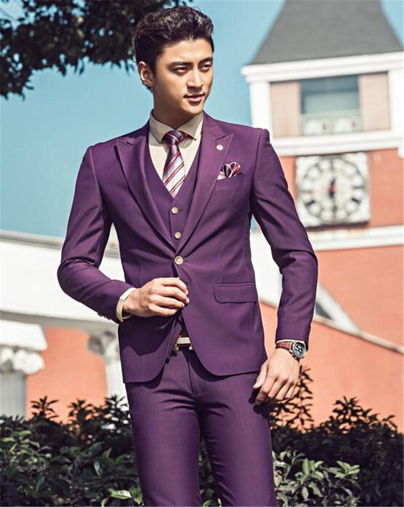 Handsome man\'s suits slim fit purple groom wedding tuxedo young man ...