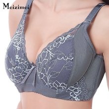 Women sexy full coverage lace bras lady thin comfortable large size underwear 7 color large cup C D 80 85 90 95 100