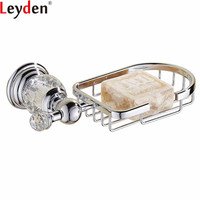 Leyden Chrome Soap Basket Wall Mounted Silver Soap Dish Holder Box Rectangle Dish For Bathroom Accessories Soap Basket