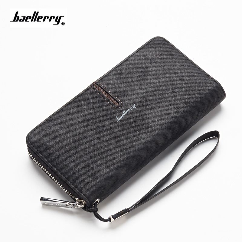 New Brand canvas Men Wallets Baellerry High Capacity Clutch wallet banknote Coin card Purse Male Wrist Strap phone Wallet