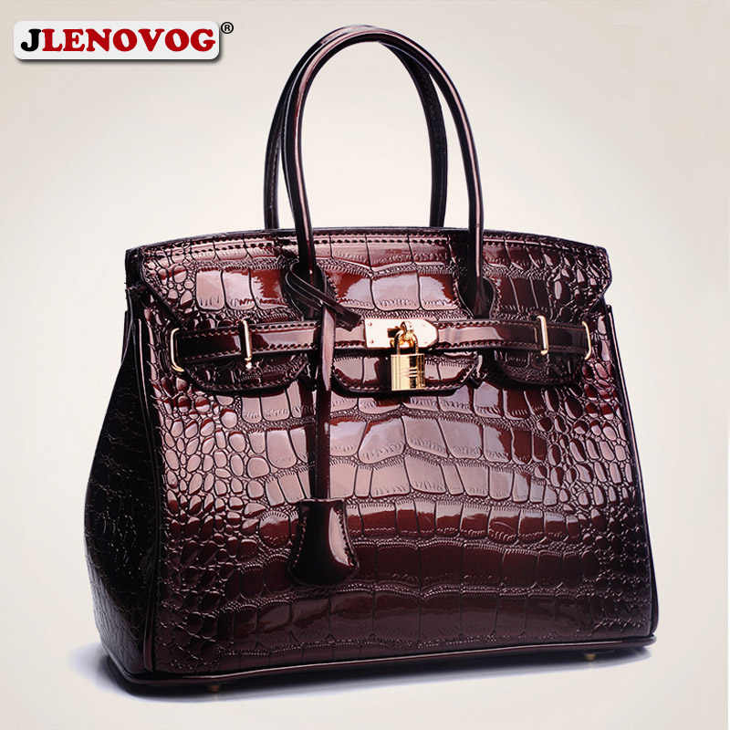 9133b37503d 2019 Crocodile Women Tote Real Patent Leather Handbag Luxury Designer  Ladies Alligator bags Wine Red Black