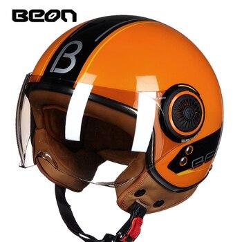 BEON Motorcycle Vintage Helmet Scooter Open Face Women's Retro Moto Bike Helmets ECE Motorbike sunvisor Helmets