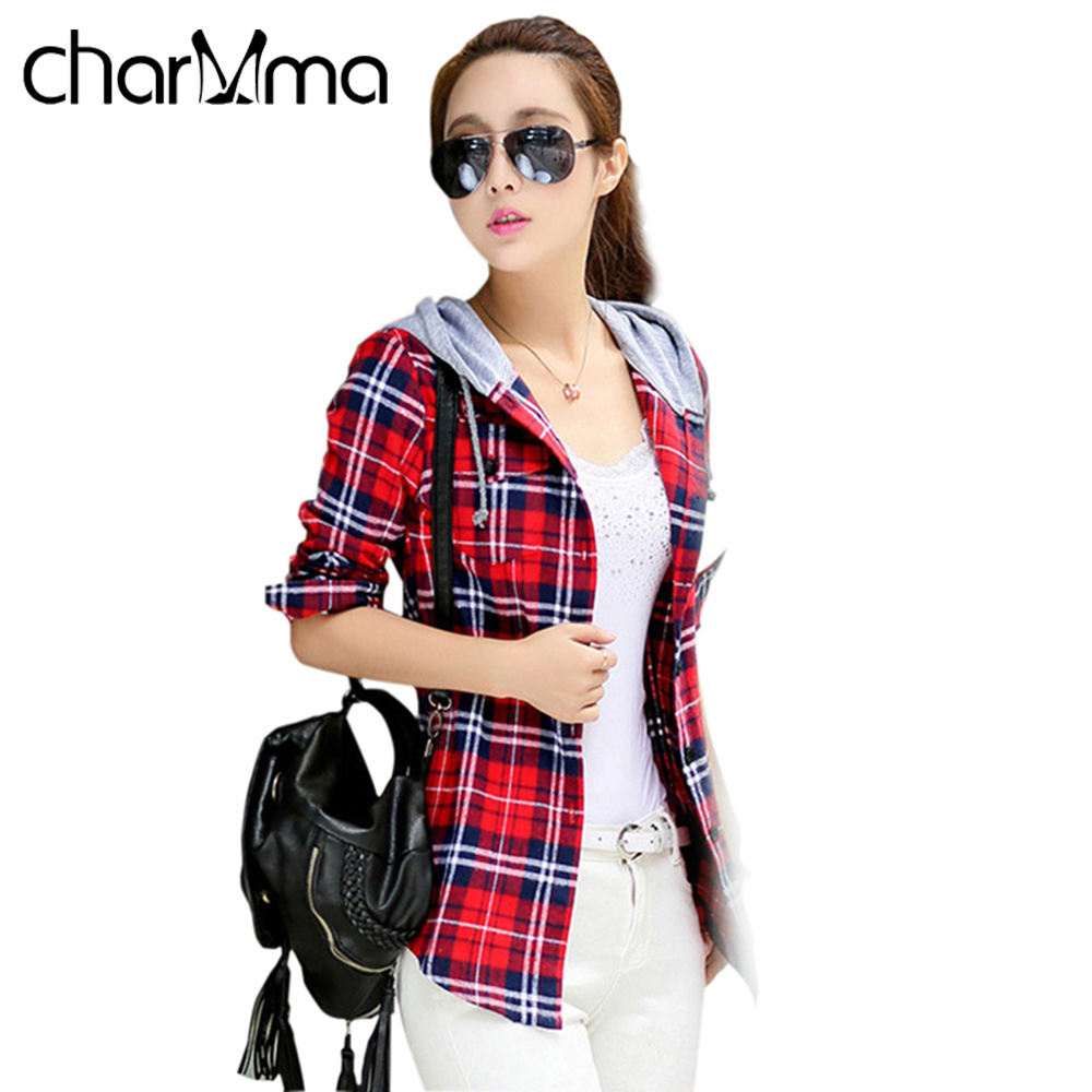 Charmma casual red plaid blouse shirt women spring long Womens red tartan plaid shirt