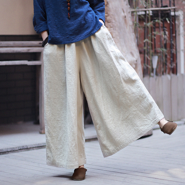 Extra Large Beige Wide Loose Women Cotton Linen Wide Leg Pants ... d8cbc1635