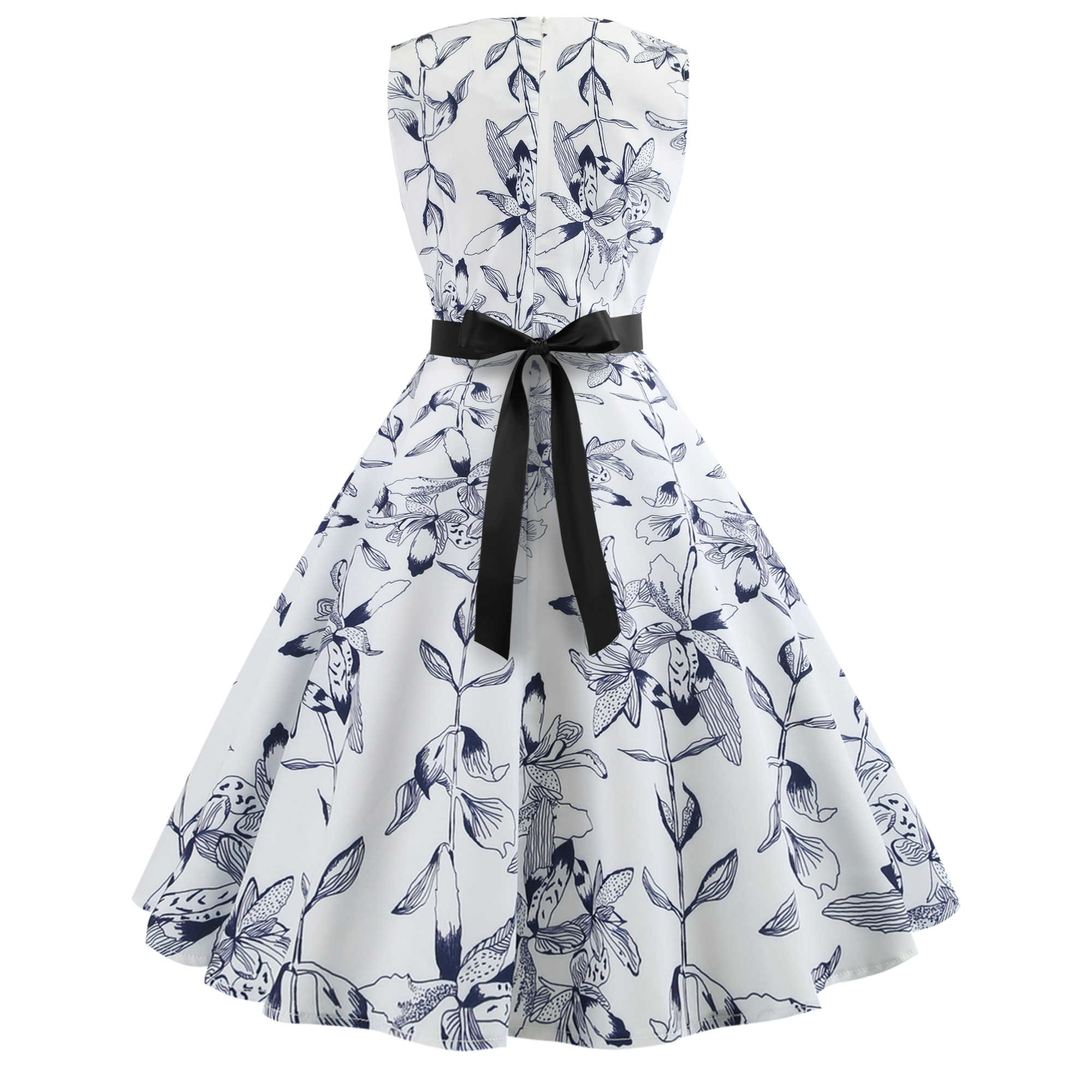 Bebovisi/модное женское винтажное платье 2019 года, белое летнее платье с цветочным принтом, Хепберн, 50 s, ретро вечерние платья без рукавов, Бандажное платье