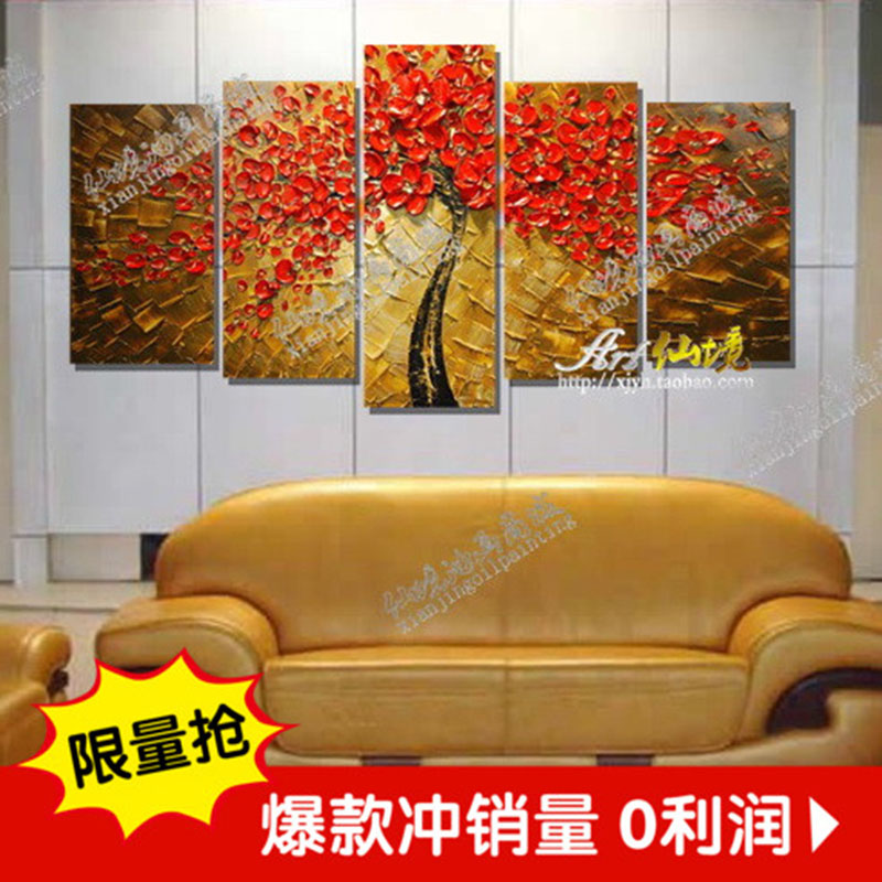 High Quality Abstract Autumn Red Maple Leaf Hand Painted Palette font b Knife b font Modern