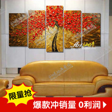 High Quality Abstract Autumn Red Maple Leaf Hand Painted Palette Knife Modern Oil Painting Canvas Wall Living Room Artwork Fine