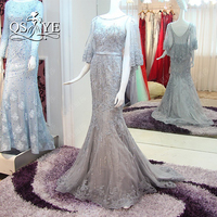 Vestido De Festa 2017 Real Photo Grey Beading Mermaid Evening Dresses With Cape Elegant Lace Beaded