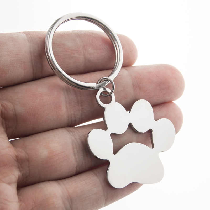 Friendship Gift Dog Paw Metal Key Ring Loop Stainless Steel Blank Charm for Personalized Printing Key Chain Key Fob Accessories