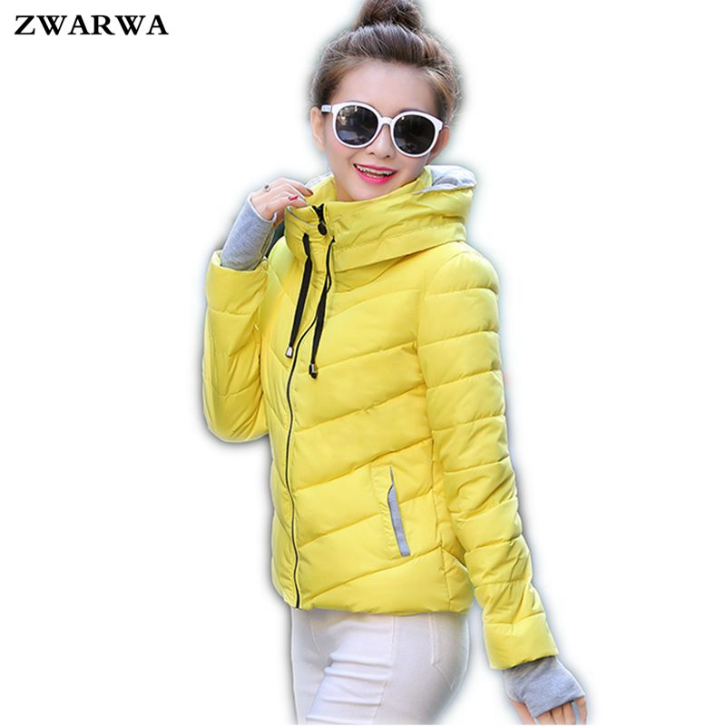 2017 New Fashion Winter Jackets And Coat Womens Short Style Slim Zipper Thicken Hooded Wadded-Cotton Female Outwaer