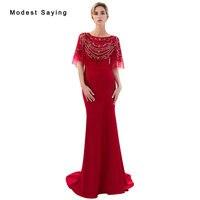 Elegant Red Mermaid Evening Dresses 2019 Featuring Beaded Top Long Formal Women Prom Gown with Rhinestone vestido de festa longo