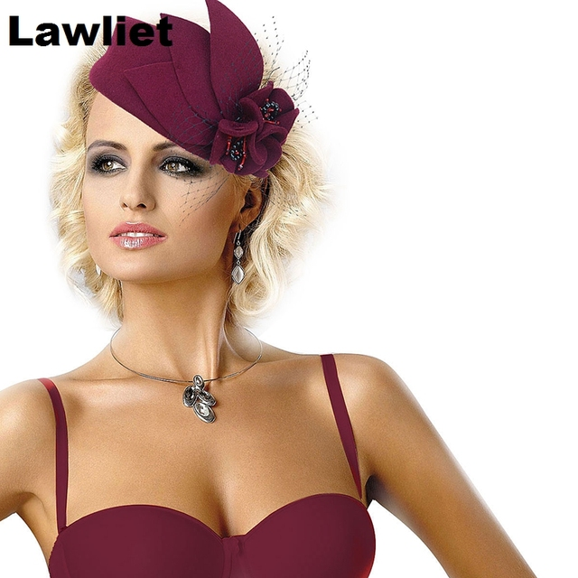 A131 Burgundy Women Fascinator Pillbox Felt Wool Hat Formal Dress Flower Veil