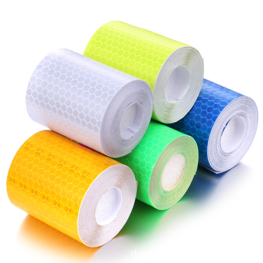 5cm*300cm Car Styling Car Reflective Tape Stickers Self Adhesive Warning Safe For Automobile Material Car Motor Reflective Tape