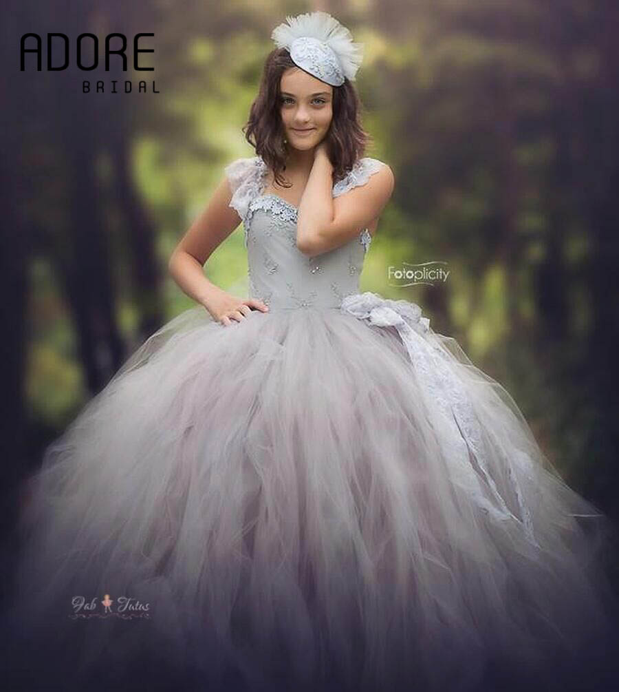 Long Silver gray tutu ball gown tulle flower girl dress lace ...