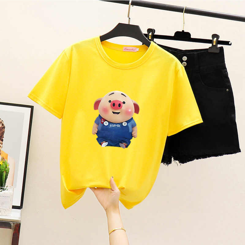 Women's Summer Harajuku T-shirt Fashion Print Casual Short Sleeve Top Round Neck Loose Large Size Couple T-Shirt