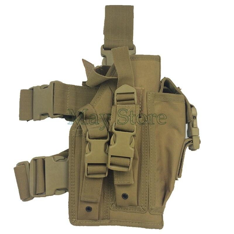 Tan Nylon Caza Unicersal Pistola Muslo Pistolera Combat Tactical Paintball Al Ai