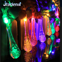 Jiaderui 5m 20 6m 30LED Solar Powered 8 Modes Water Drop String Fairy Lights For Xmas