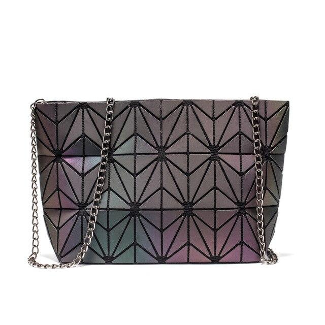Fashion Small Chain Handbags Bag Women Luminous Geometry Shoulder Bags For Female Plain Folding Messenger Bags Clutch sac bolso 2