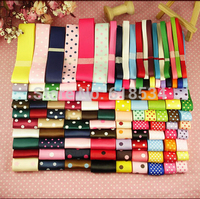118YDS Solid Grosgrain Ribbons DIY Hair Accessories Dot Printed Ribbon Set Sewing Tapes Hairbow Making Materials ZD 069
