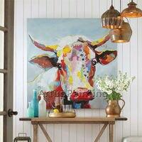 Картина на холсте Корова живопись, стены картинки для Гостиная домашнего декора, стены Книги по искусству ручной росписью plattle нож животног...