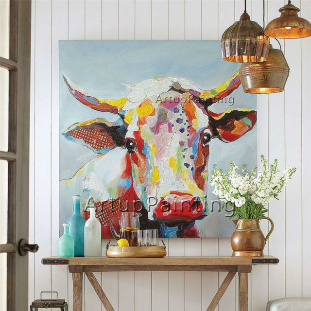 Buy painting on canvas of cow painting - Oil painting ideas for living room ...