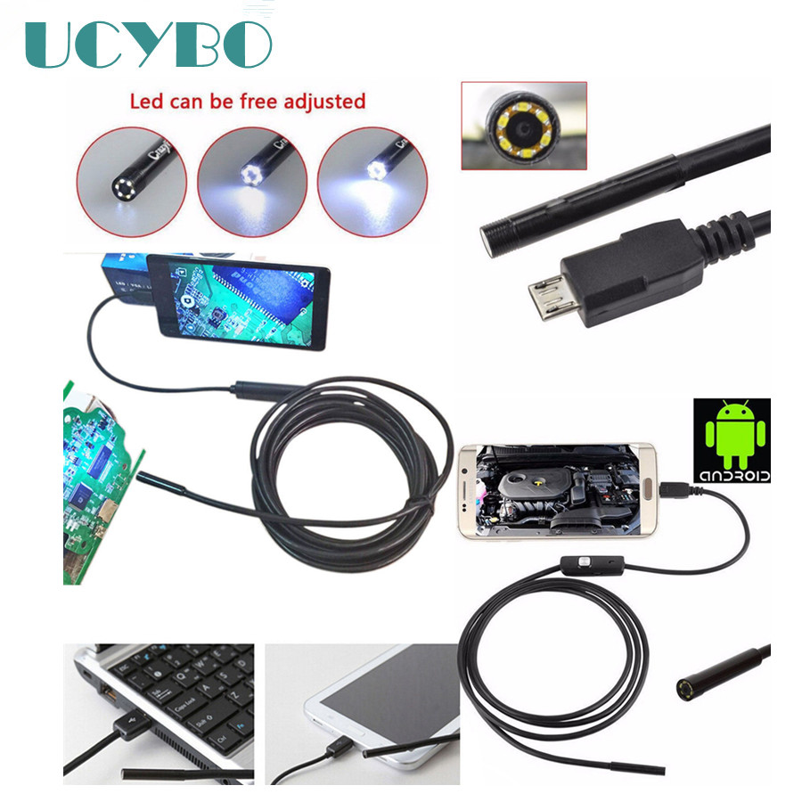 Endoscope Micro USB Snake Endoscope mini camera for Andriod Phone and PC 7mm Dia HTA7 6LED 60 Wide angle Inspecition Endscope 7mm lens mini usb android endoscope camera waterproof snake tube 2m inspection micro usb borescope android phone endoskop camera