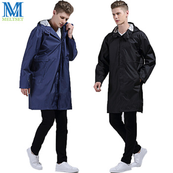 Casual Men Raincoat With Hood Nylon Rainwear Outdoor Waterproof Rain Poncho