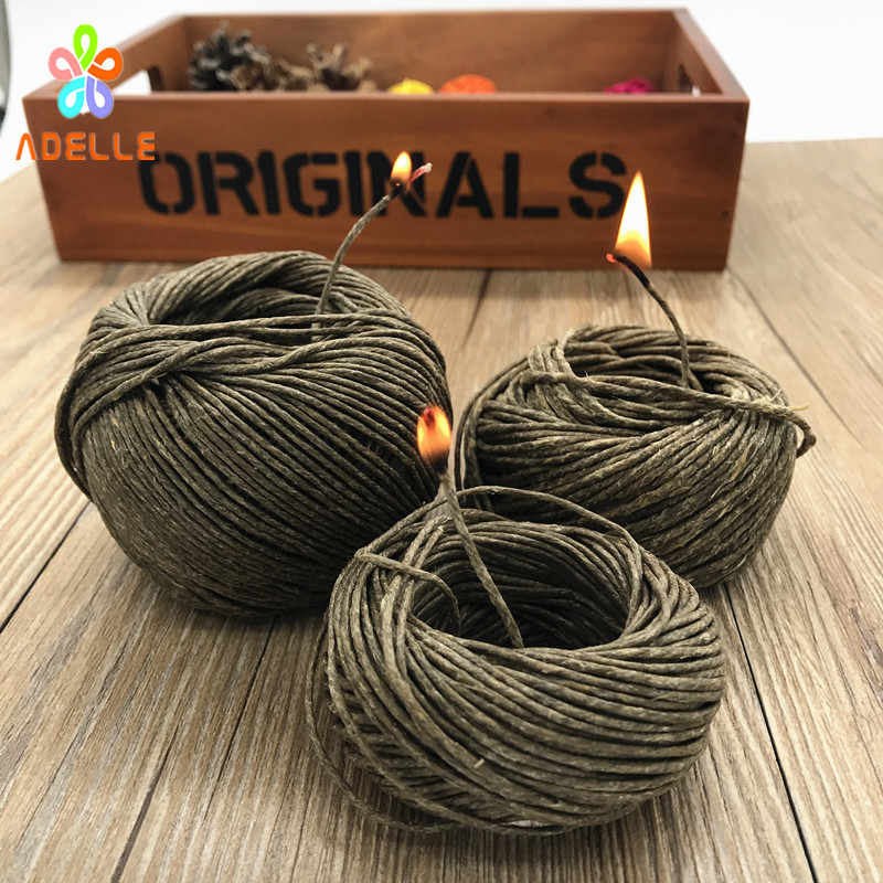 HOT Organic Hive Hemp Wick 1/1.5/2mm Bees Waxed hemp Twine Cord Cigarette lighter Candle craft Outdoor free shipping 10yard