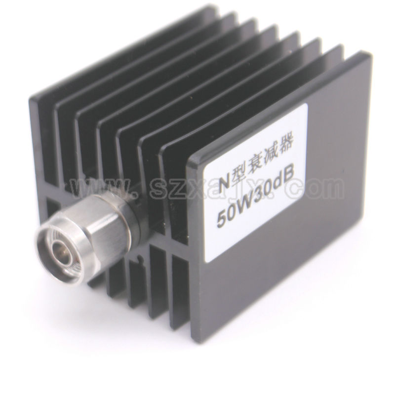 JX High power RF attenuator N male to N female 50W DC-3G-XDB(X:30DB) Heat sinks Free shipping high power 100w watt n male to n female attenuator dc 3ghz 30db coaxial power with heat sink attenuator free shipping