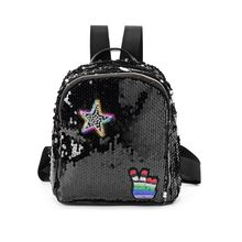 High Quality New Fashion Girls Shining Glitter Sequins Backpack With Cute Patches Casual School